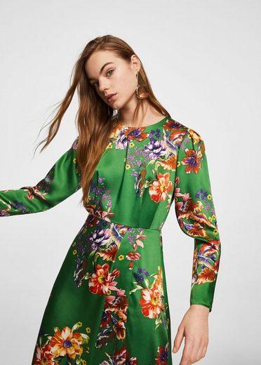 MANGO Satiniertes Kleid mit Blumenmuster