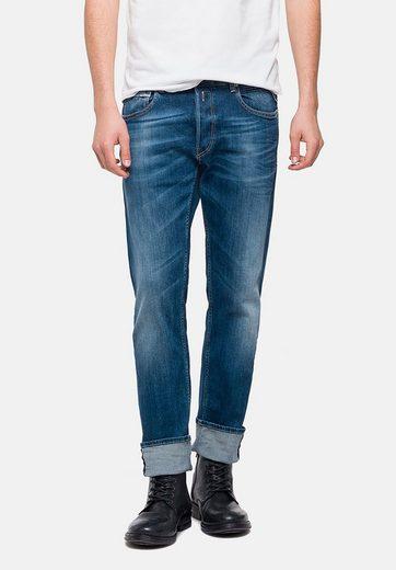 Replay 5-Pocket-Jeans GROVER SUPER-STRETCH-DENIM, Lederimitatbesatz