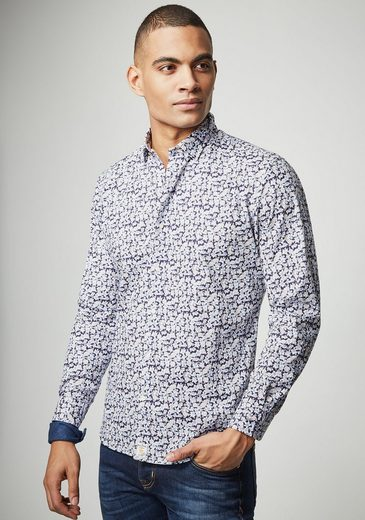 PIERRE CARDIN Hemd mit Flower-Print - Slim Fit