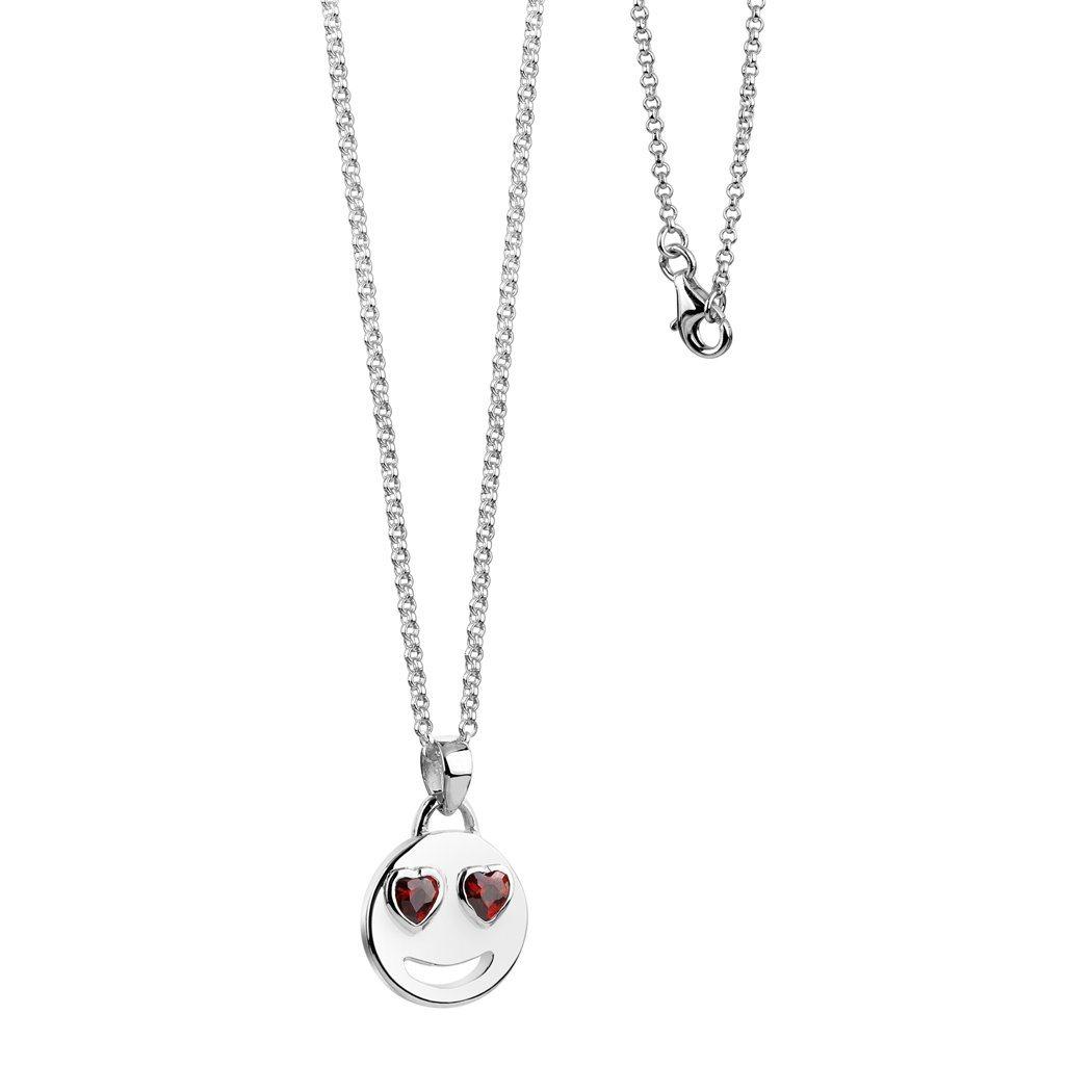 Nenalina Kette mit Anhänger Smiley mit Zirkonia Herzaugen | Schmuck > Halsketten > Herzketten | Silber | Nenalina