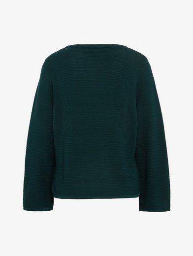 Tom Tailor Denim Rundhalspullover gestreifter Pullover mit weitem Arm
