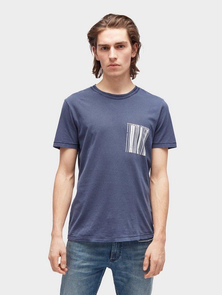Herren TOM TAILOR Denim  T-Shirt T-Shirt mit Print-Motiv blau | 04060586349098