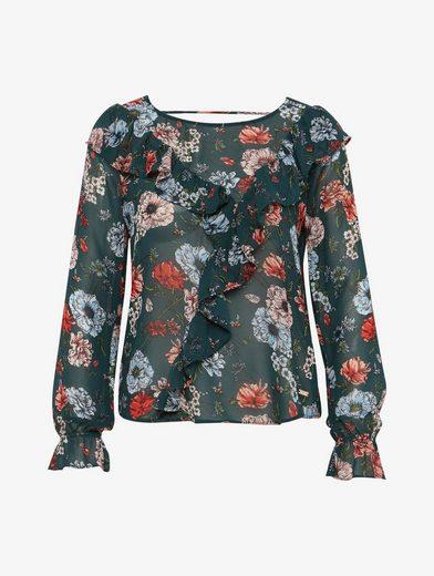 Tom Tailor Denim Langarmbluse floral gemusterte Bluse mit Rüschen