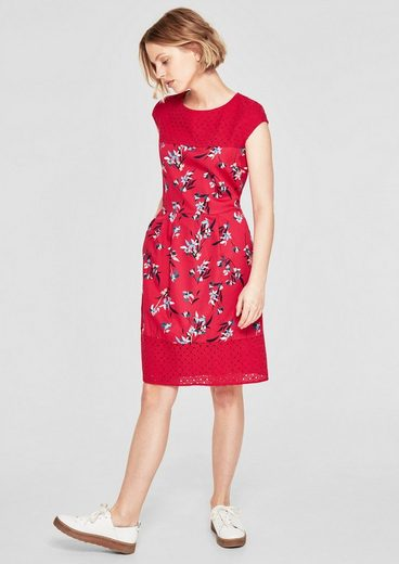 s.Oliver RED LABEL Florales Kleid mit Lochmuster