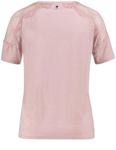 Taifun T-Shirt 3/4 Arm Rundhals Blusenshirt mit Spitze