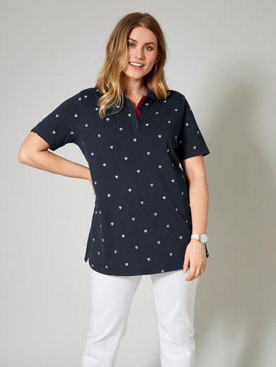 Janet und Joyce by Happy Size Poloshirt mit Allover-Print