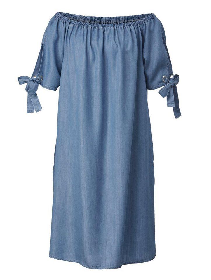 7d8e4790aeb729 Sara Lindholm by Happy Size Kleid mit Carmen-Ausschnitt und Schleifen