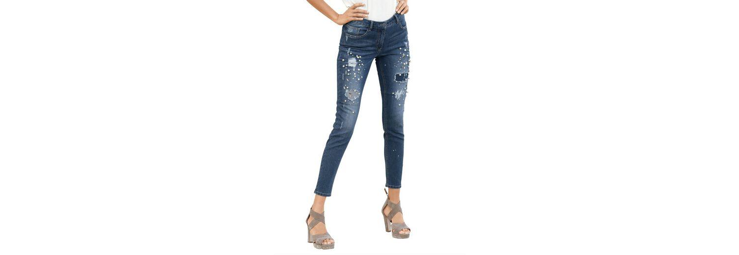 Amy Vermont Jeans mit aufwendiger Dekoration Großhandelspreis Günstig Online Rabatt Verkauf Truhe Finish qvsmB