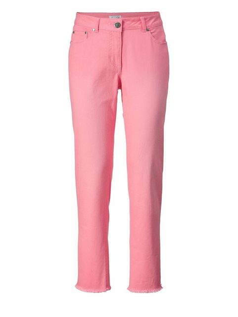 Hosen - Angel of Style by Happy Size Slim Fit Jeans knöchellang mit Fransen › rosa  - Onlineshop OTTO