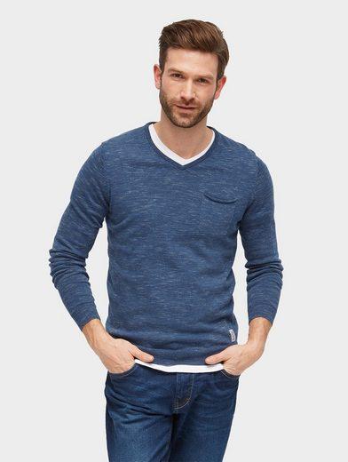 Tom Tailor Strickpullover Basic Pullover mit V-Ausschnitt