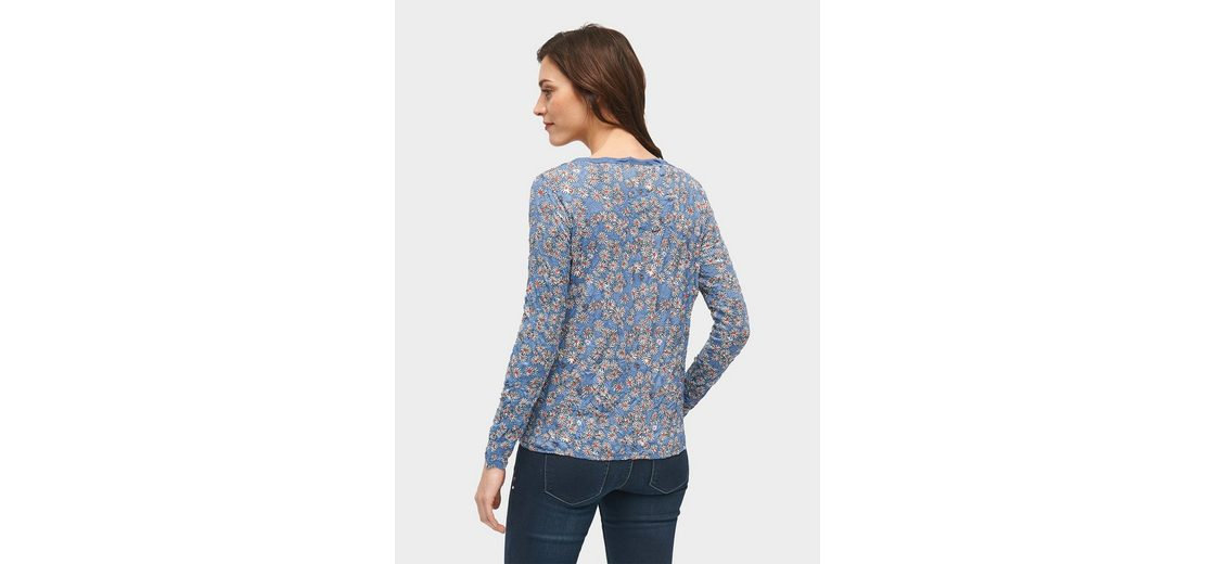 Tom Tailor Langarmshirt gemustertes Shirt mit Crinkles Verkauf Zum Verkauf Online-Verkauf Billig Großhandelspreis Outlet Besten Großhandel 0la2y