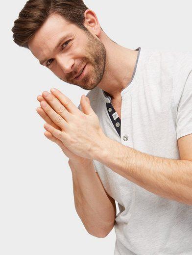 Tom Tailor T-Shirt T-Shirt mit Zierknopfleiste