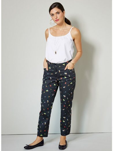 Sara Lindholm by Happy Size Stretch-Hose knöchellang mit Blumen-Print