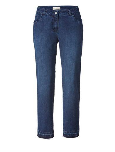 Janet und Joyce by Happy Size Slim Fit Jeans knöchellang mit Fransen