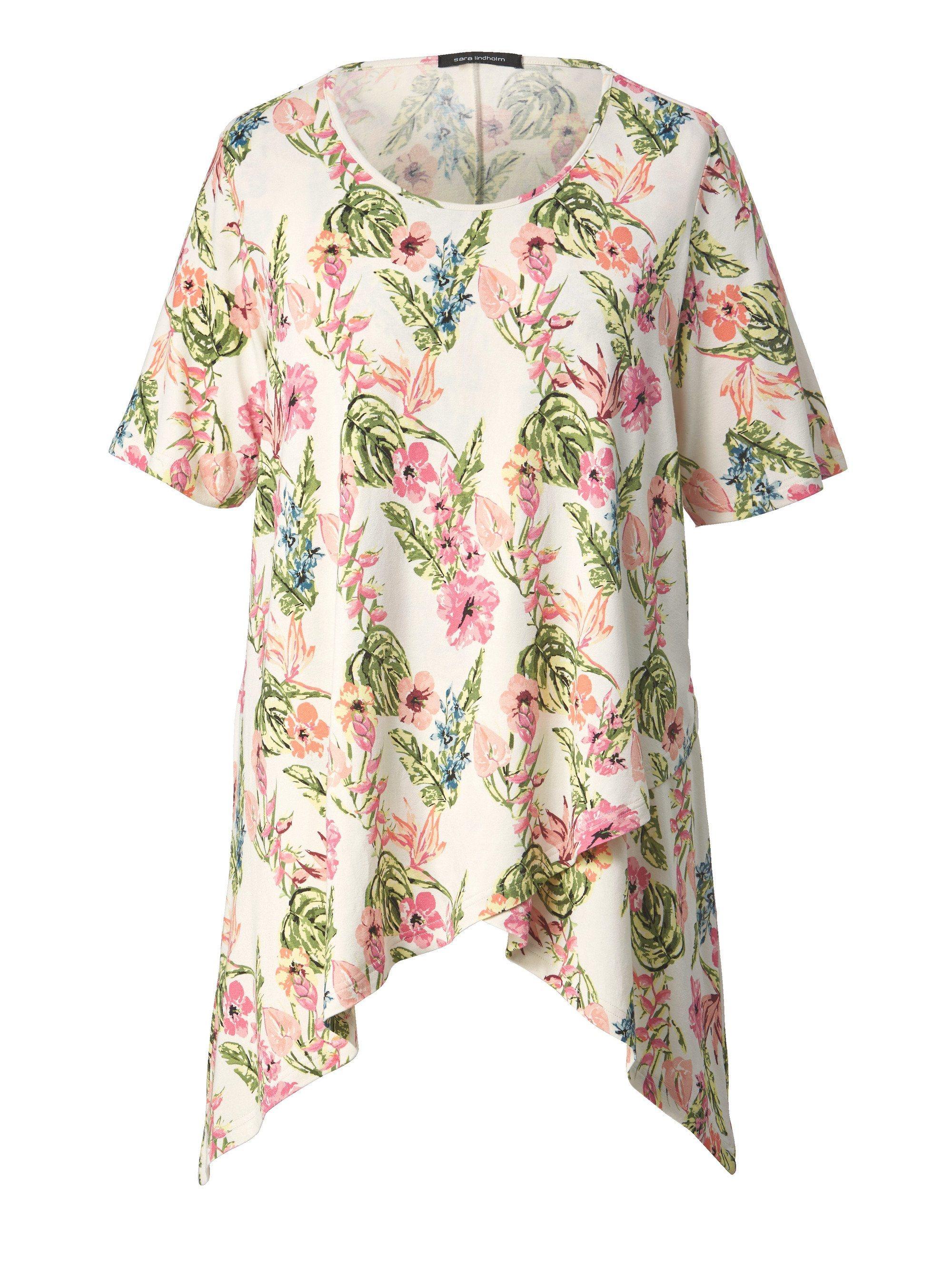 Sara Lindholm by Happy Size Jersey-Tunika mit Zipfelsaum | Bekleidung > Tuniken > Sonstige Tuniken | Print | Jeans - Viskose - Elasthan | Sara Lindholm by Happy Size