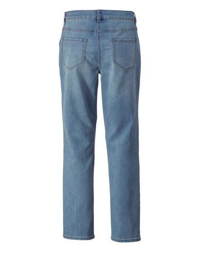 Sara Lindholm by Happy Size Slim Fit Jeans knöchellang mit Stickerei