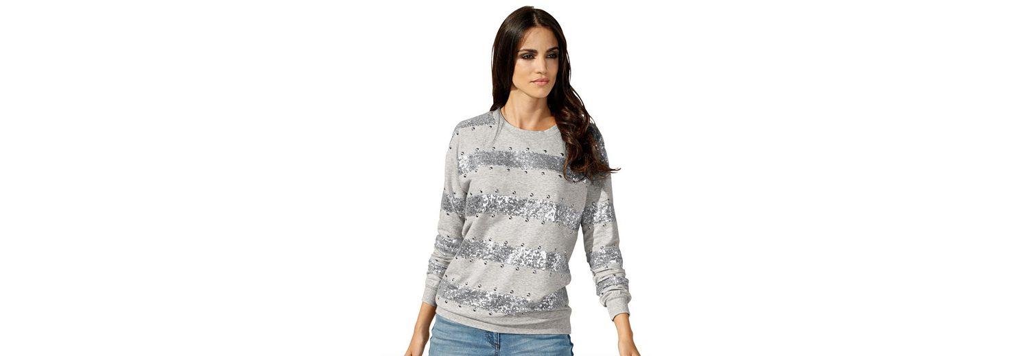 Amy Vermont Sweatshirt mit Pailletten und Metallpl盲ttchen