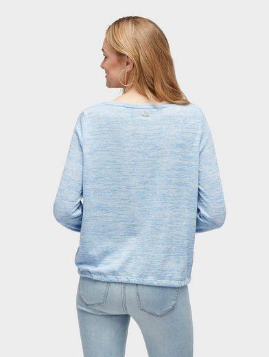 Tom Tailor Denim Langarmshirt Shirt mit elastischen Saumkanten