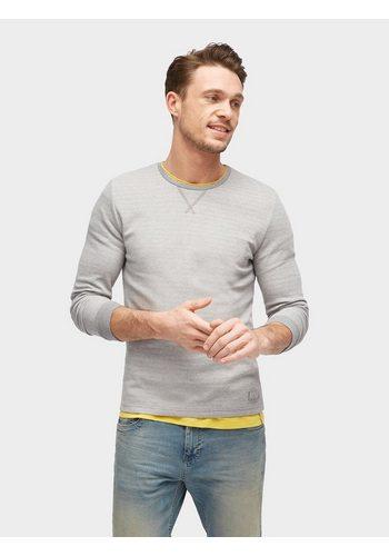 Herren Tom Tailor Rundhalspullover Langarmshirt in Melange-Optik grau | 04060586394227