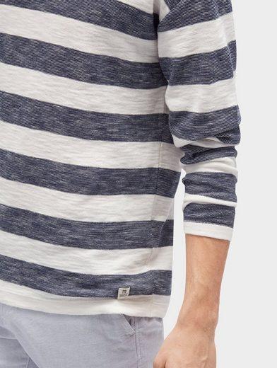 Tom Tailor Denim Rundhalspullover gestreifter Pullover mit Rollkante