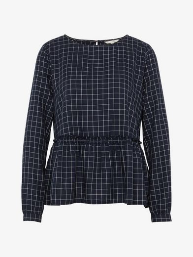 Tom Tailor Denim Long Sleeve Blouse With Volant-neck At The Hem