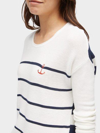 Tom Tailor Strickpullover gestreifter Pullover mit Stickerei