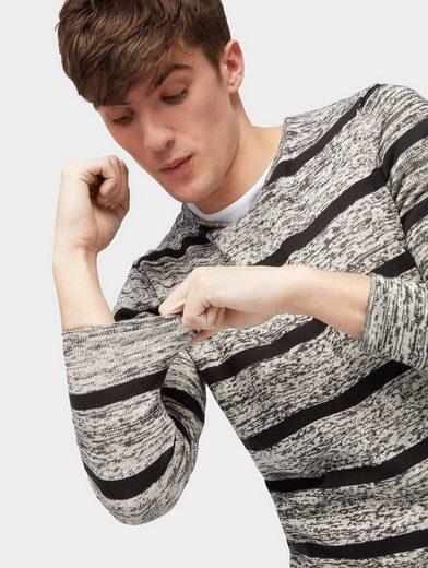 Tom Tailor Denim Rundhalspullover Pullover mit Streifenmuster