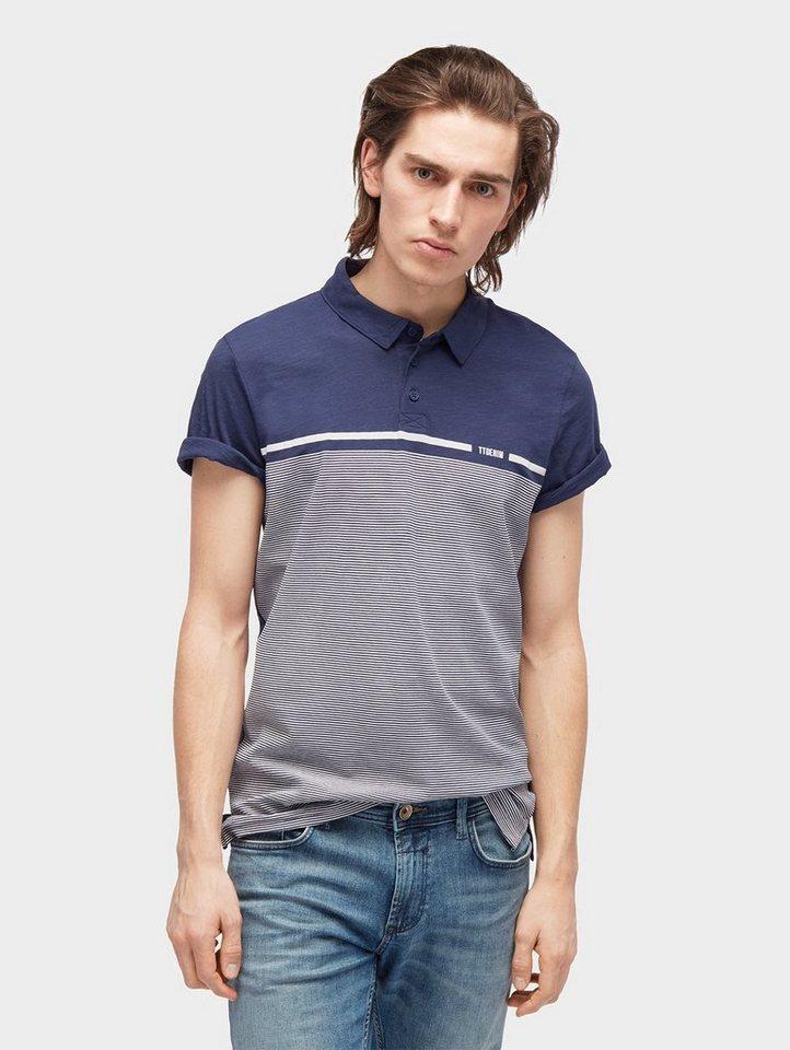 Herren TOM TAILOR Denim  T-Shirt gemustertes Polo-Shirt blau | 04060586748860