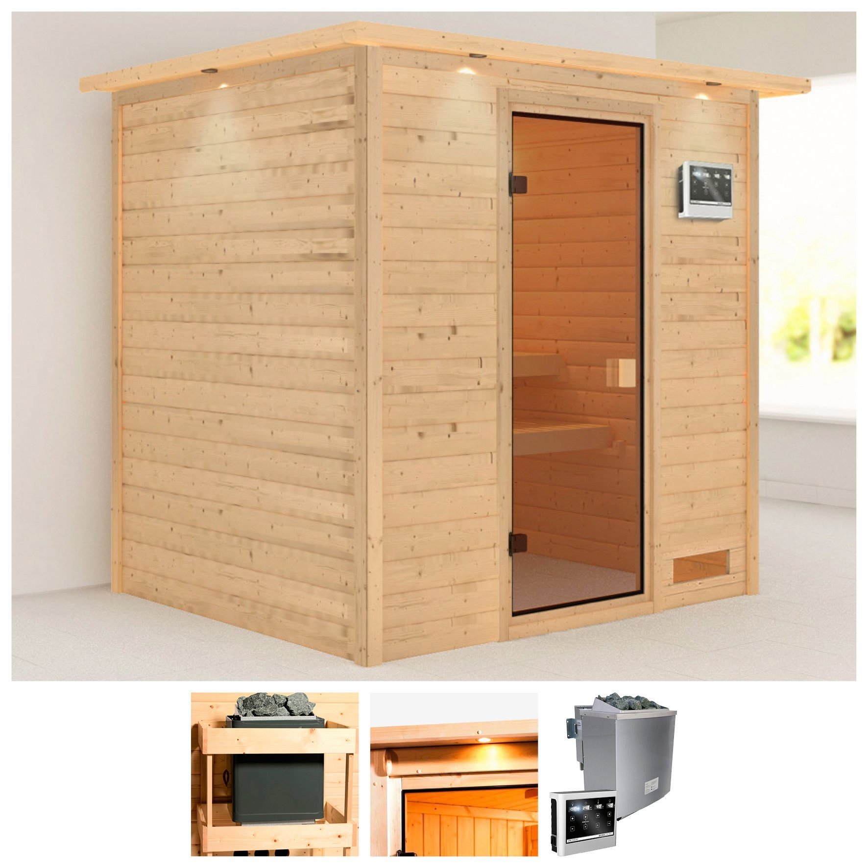 KARIBU Sauna »Anja«, 224x184x202 cm, 9 kW Bio-Ofen mit ext. Steuerung, Dachkranz