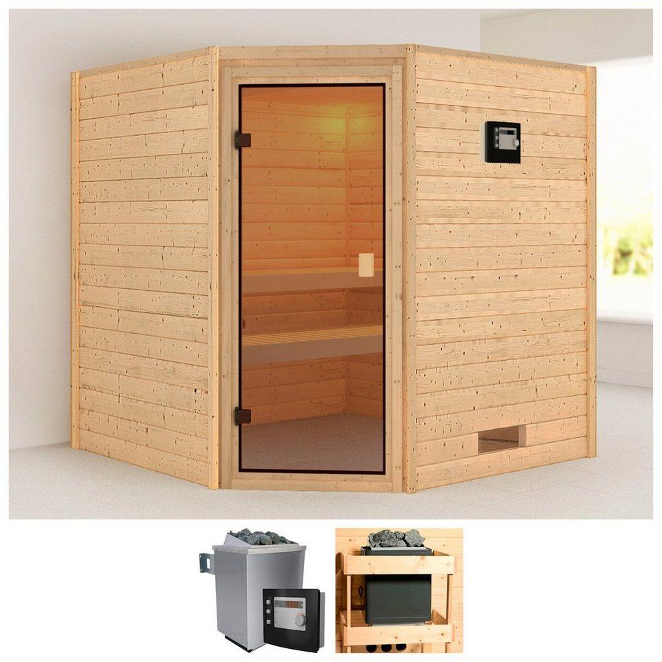 konifera massivholzsauna ivana au enma bxtxh 196x187x196 cm online kaufen otto. Black Bedroom Furniture Sets. Home Design Ideas