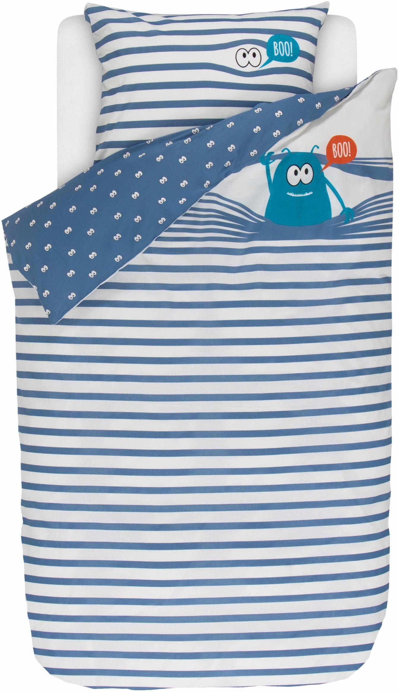 Kinderbettwäsche »Frankie the monster«, Esprit, mit Streifen und kleinem Monster
