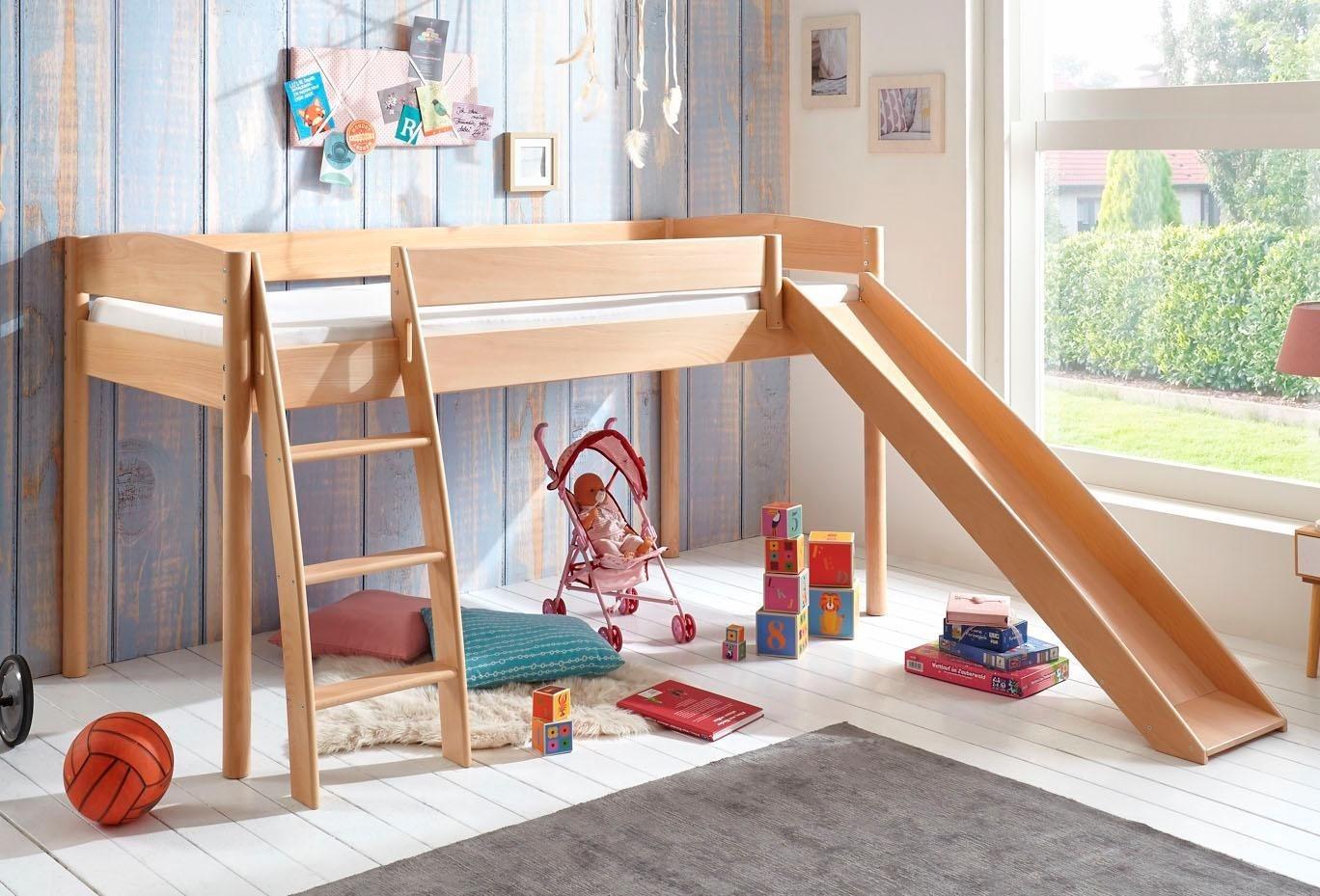 Relita Hochbett »Michelle« mit runden Bettpfosten und Rutsche, Buche massiv