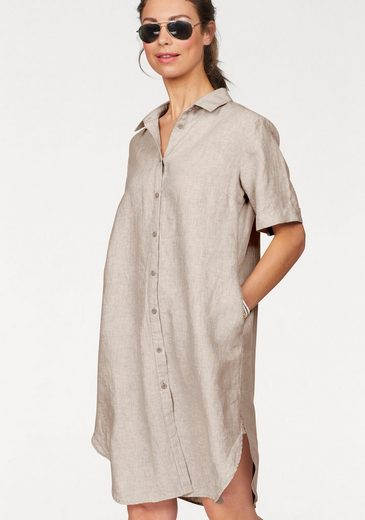 Clarina Blusenkleid, aus Leinen mit rundem Saum