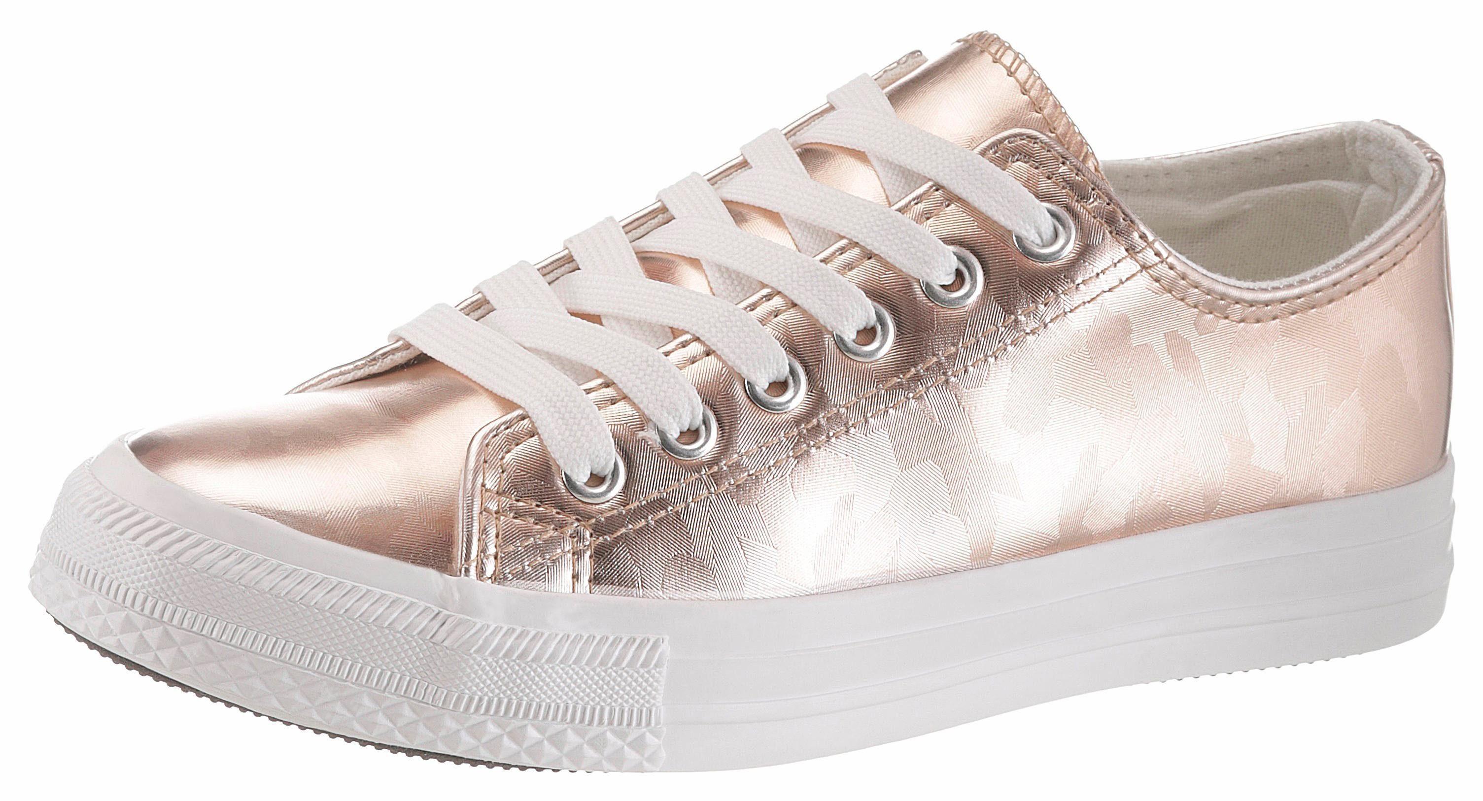 HaILYS »Vicky« Sneaker, im Metallic-Look, rosa, roségoldfarben