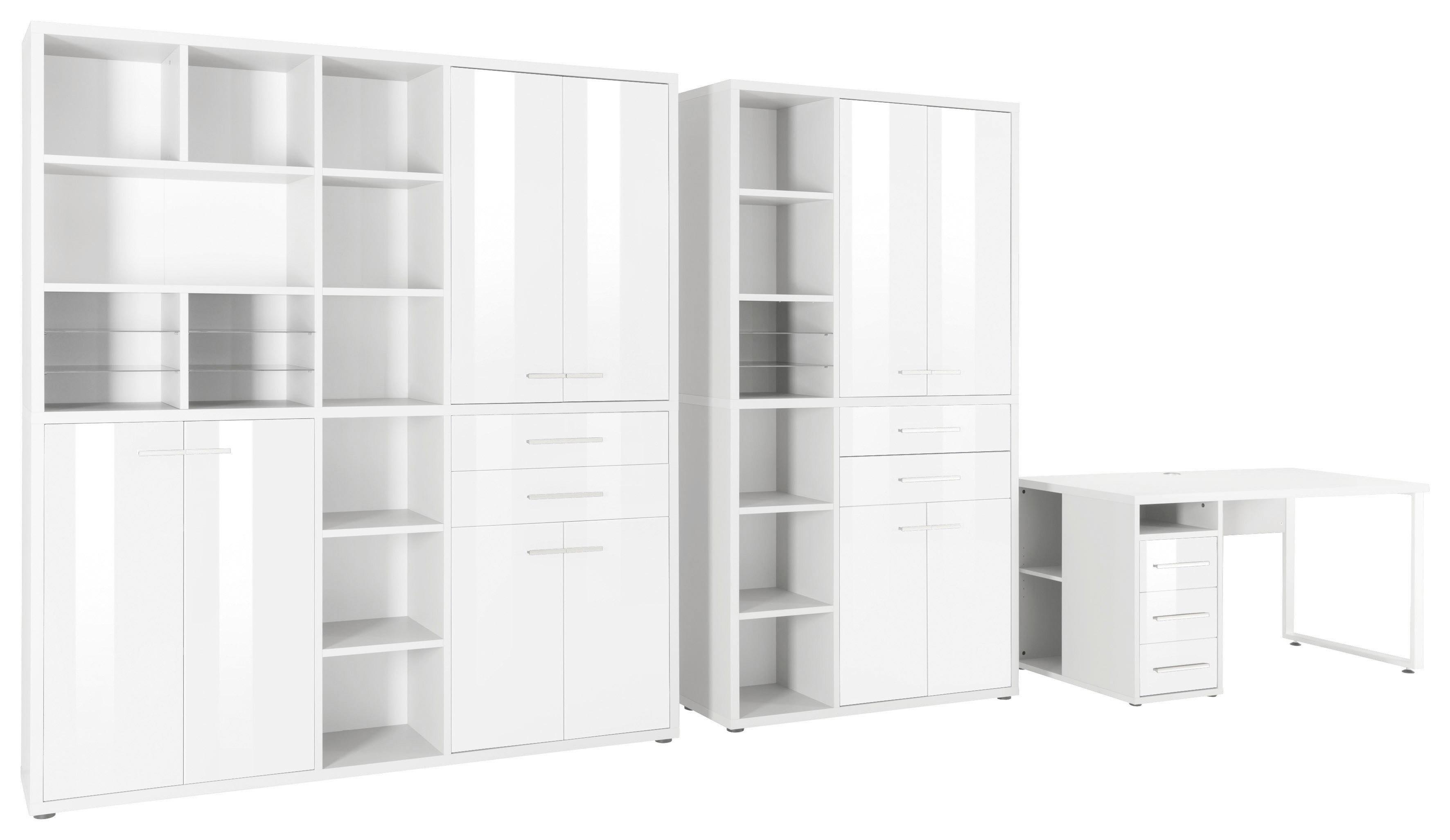 MAJA Möbel Büromöbel-Set 1391 SET+ (3-tlg.) | Büro > Büromöbel-Serien | Glanz | Eiche - Abs - Metall - Melamin | Maja Möbel