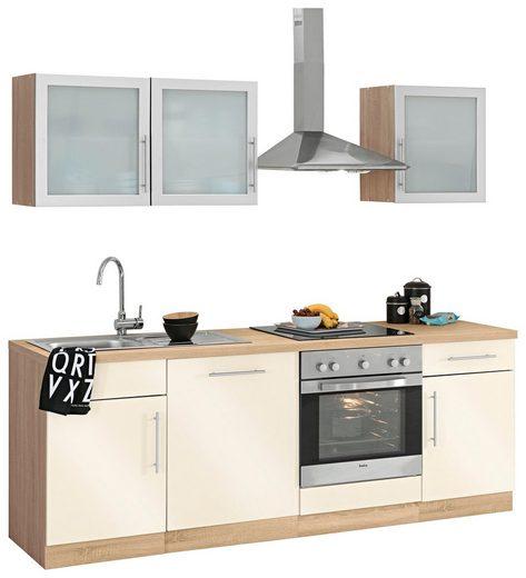 wiho Küchen Küchenzeile »Aachen«, mit E-Geräten, Breite 220 cm