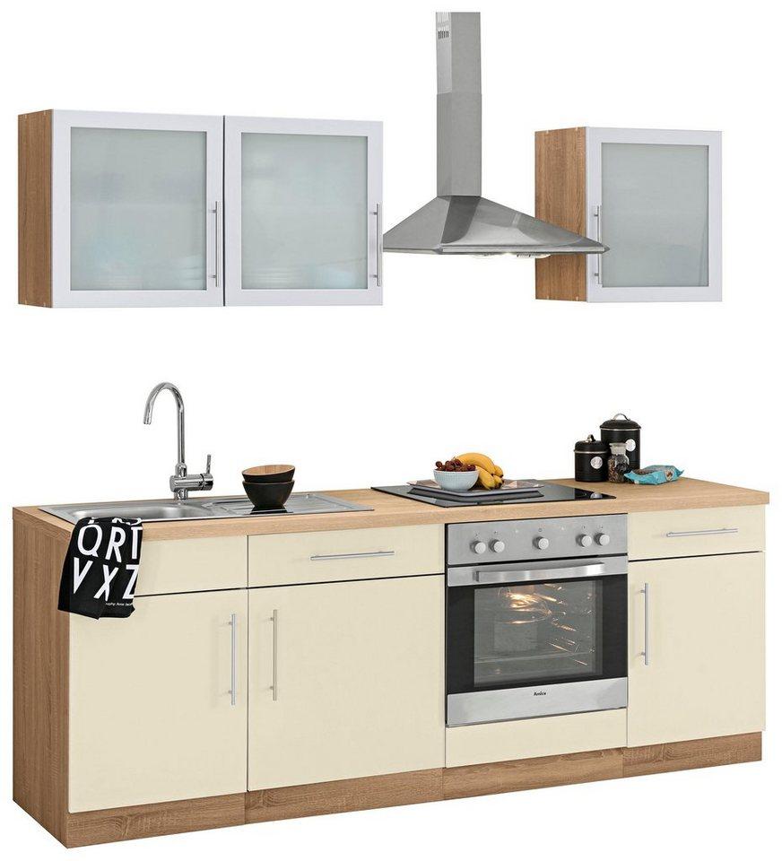 wiho Küchen Küchenzeile »Aachen«, mit E-Geräten, Breite 220 cm,  Pflegeleichte Oberfläche online kaufen | OTTO