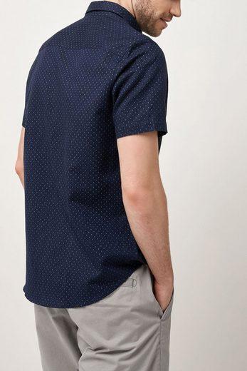 Next Kurzarmhemd mit Print aus Leinengemisch