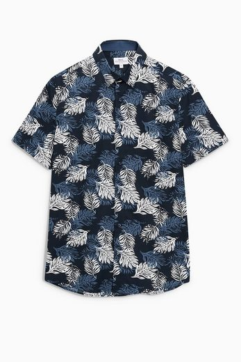 Next Kurzärmeliges Hemd mit Blattmuster