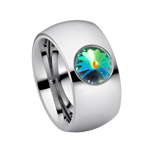 Heideman Fingerring »Coma 11 Poliert« (1-tlg), Damenring mit Stein weiss oder farbig