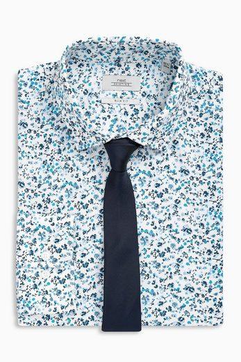 Next Slim-Fit-Hemden mit Krawatte, einfarbig/gemustert, 2er-Pack 2 teilig