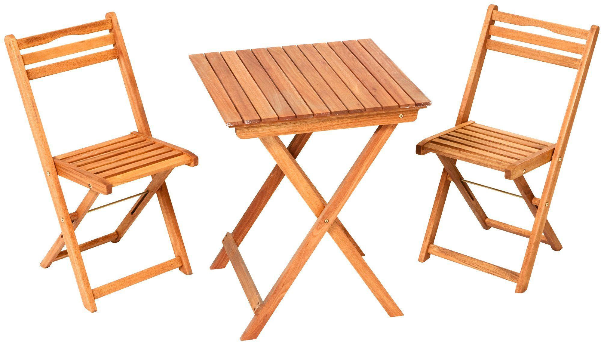 MERXX Gartenmöbelset »Porto«, 3tlg., 2 Sessel, Tisch, klappbar, Eukalyptusholz