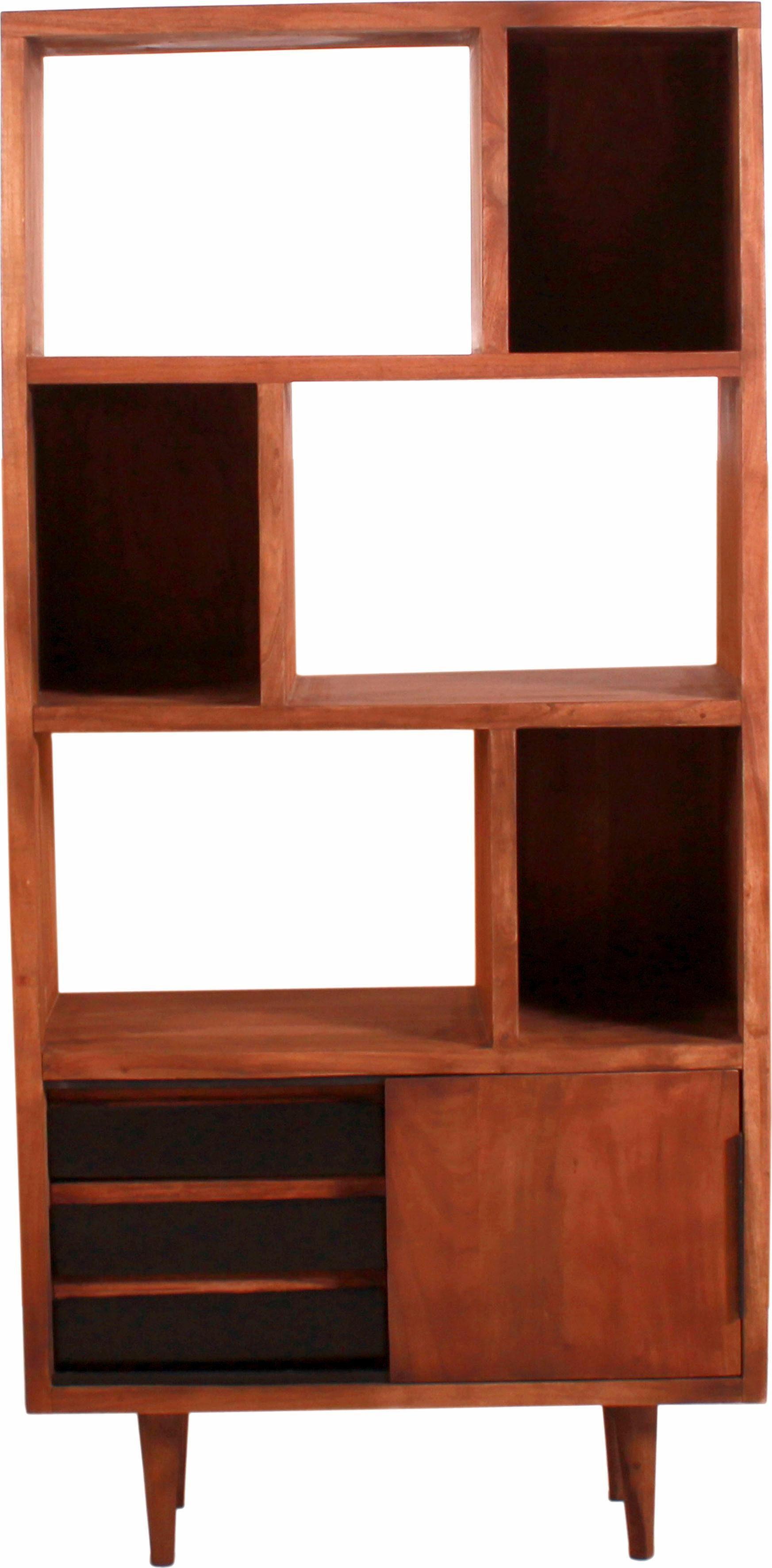 SIT Regal »Mid Century« aus Akazienholz mit Schiebetür und Schubladen