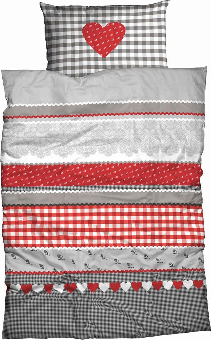 Bettwäsche »Herz-Karo«, CASATEX, mit niedlichem Herz-Karo Design