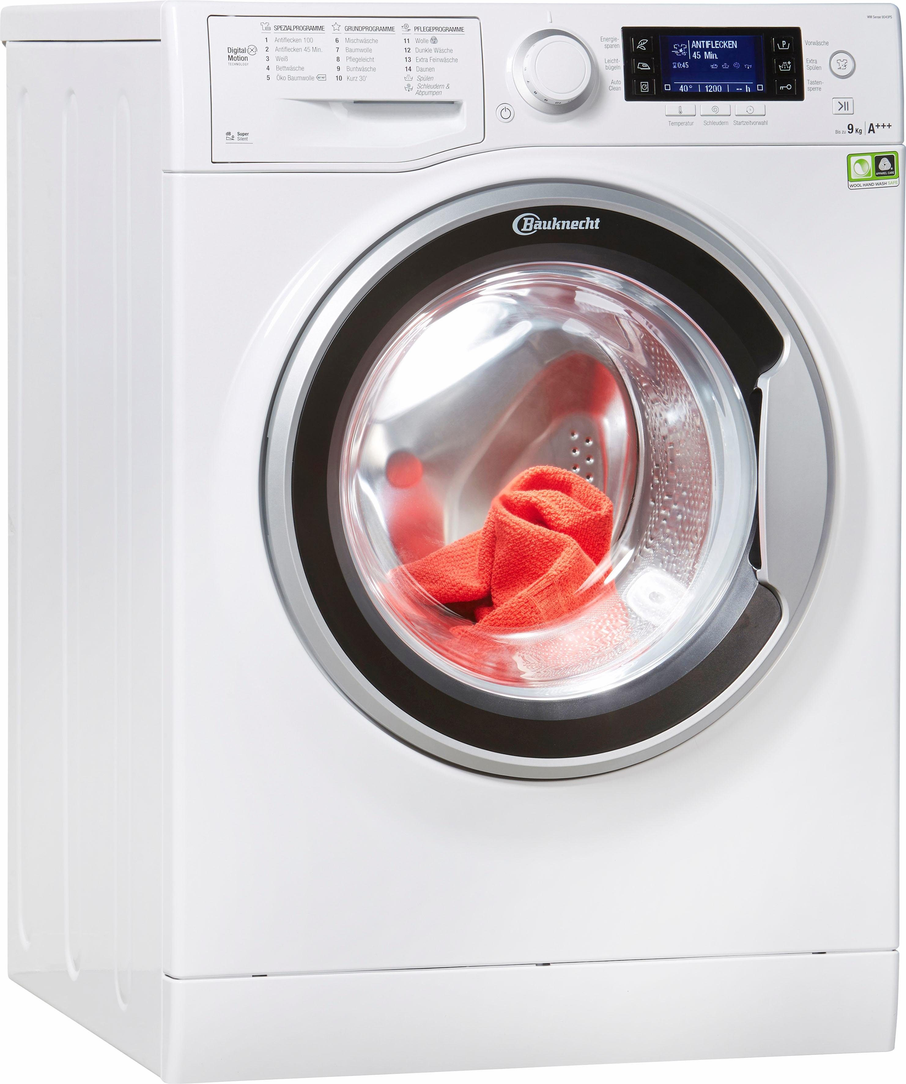 BAUKNECHT Waschmaschine WM SENSE 9D43PS, 9 kg, 1400 U/Min