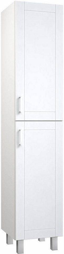 welltime  Hochschrank Eternal  vormontiert Glaseinlegeböden weiß | 04772033007283