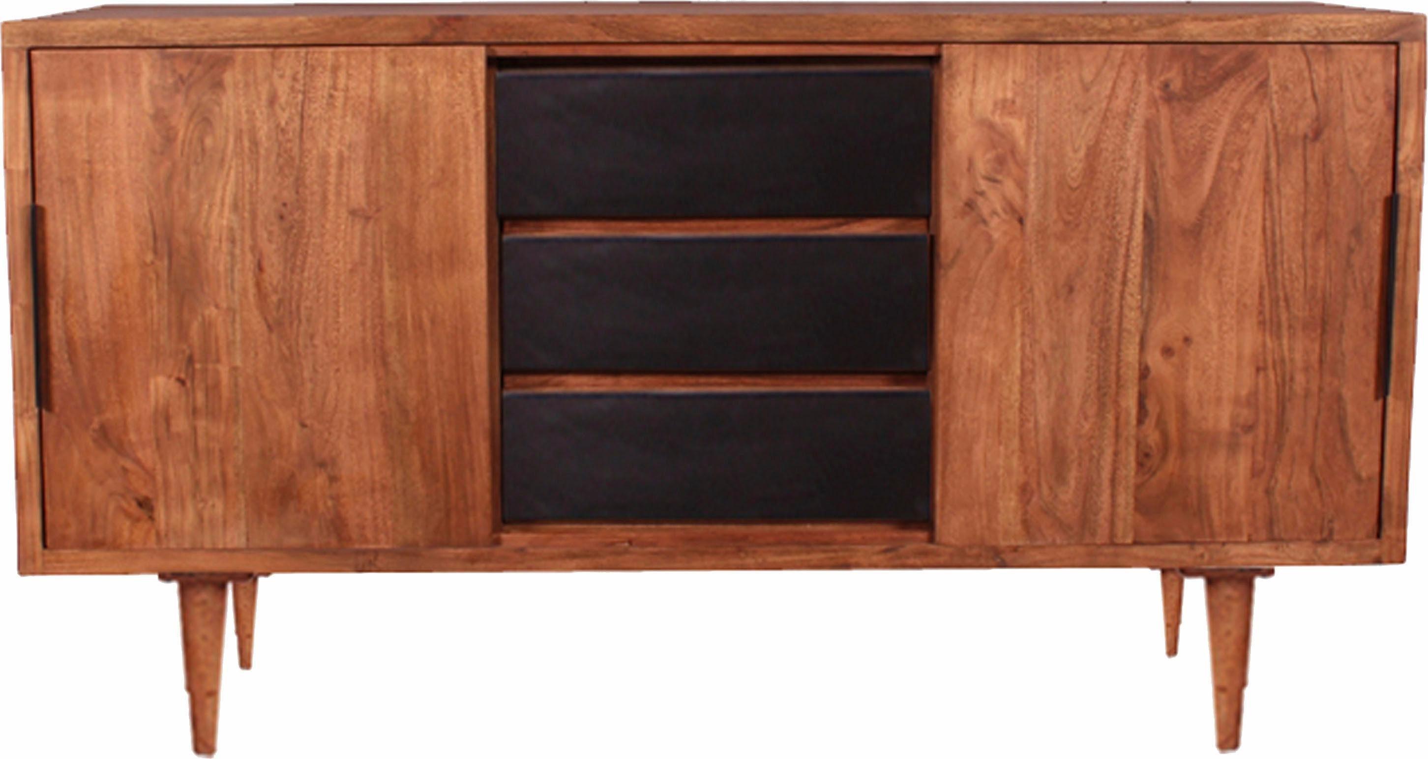 SIT Sideboard »Mid Century« aus Akazienholz mit Schiebetüren, in drei Varianten