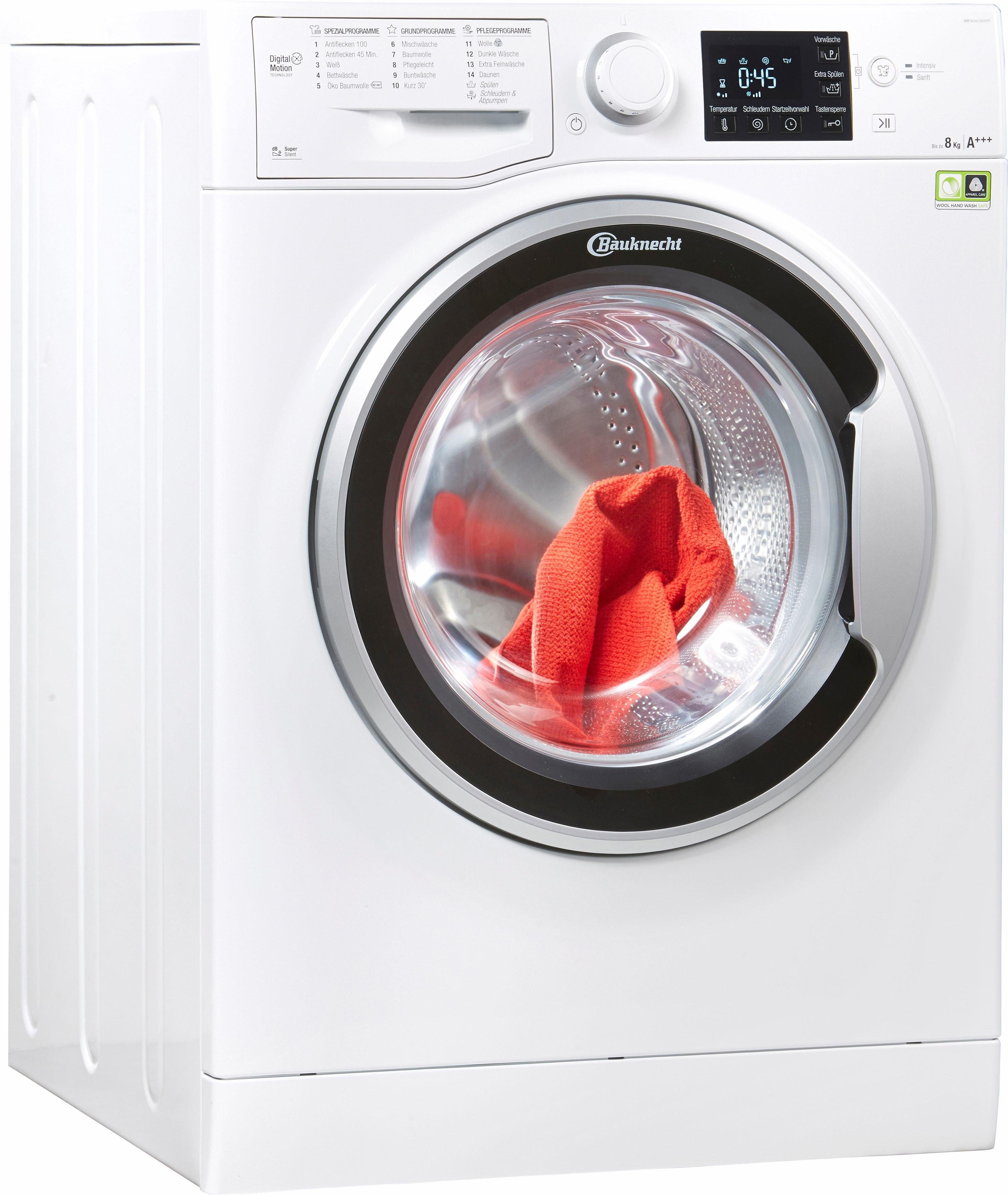 BAUKNECHT Waschmaschine WM SENSE 8G43PS, 8 kg, 1400 U/Min