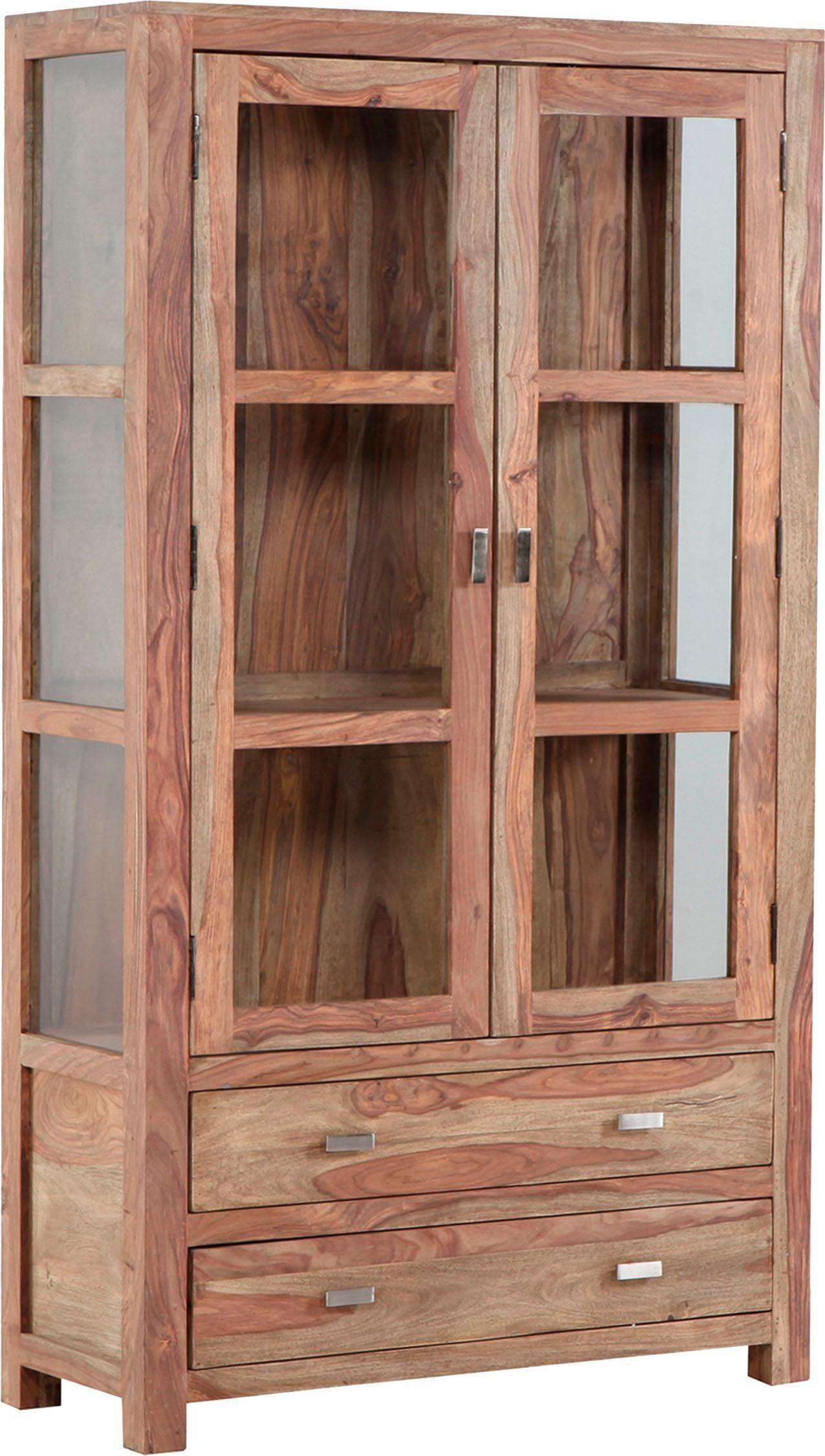 Gutmann Factory Vitrine »Inka« aus massivem Sheesham Holz, Höhe 180 cm