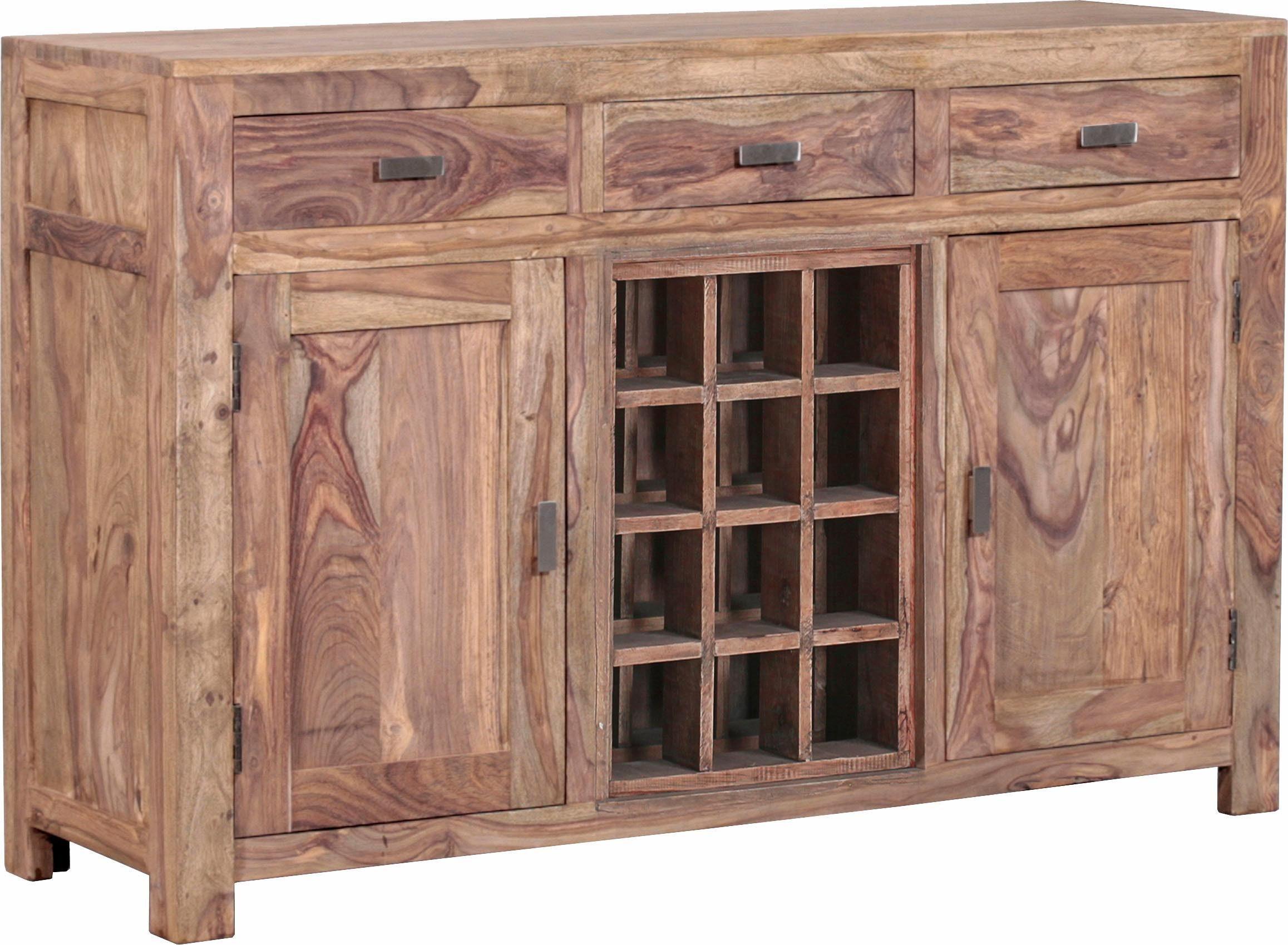 Gutmann Factory Sideboard »Inka« aus massivem Sheesham Holz, mit dekorativen Fächern